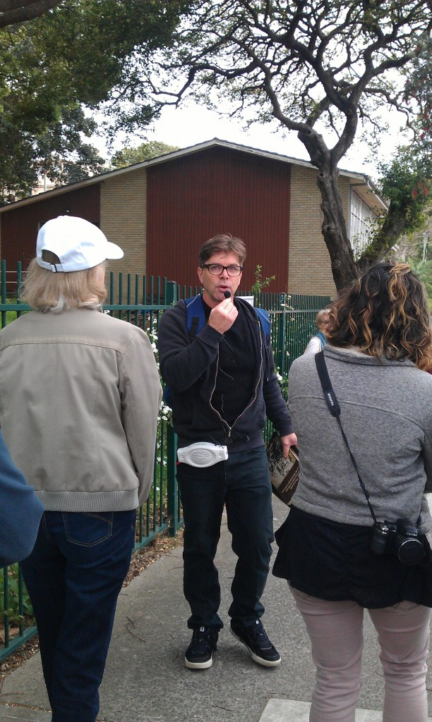 Ian Hoskins talking while walking backwards.